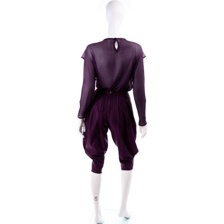 1981 Gianni Versace Vintage Purple Silk & Wool Jodhpurs & Star Chiffon Top For Sale 2