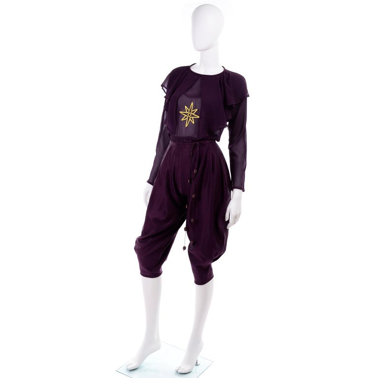 1981 Gianni Versace Vintage Purple Silk & Wool Jodhpurs & Star Chiffon Top For Sale 3