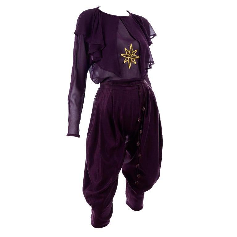 1981 Gianni Versace Vintage Purple Silk & Wool Jodhpurs & Star Chiffon Top For Sale 5