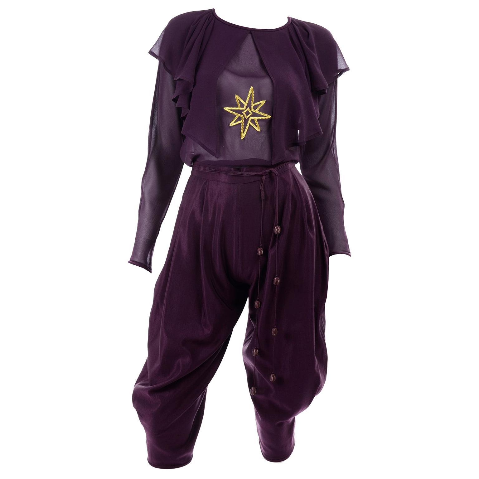 1981 Gianni Versace Vintage Purple Silk & Wool Jodhpurs & Star Chiffon Top