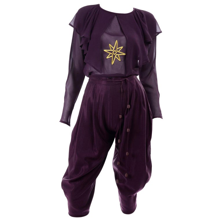 1981 Gianni Versace Vintage Purple Silk & Wool Jodhpurs & Star Chiffon Top For Sale