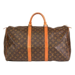 1981 Louis Vuitton Brown Monogram Coated Canvas & Vachetta Vintage Keepall 50