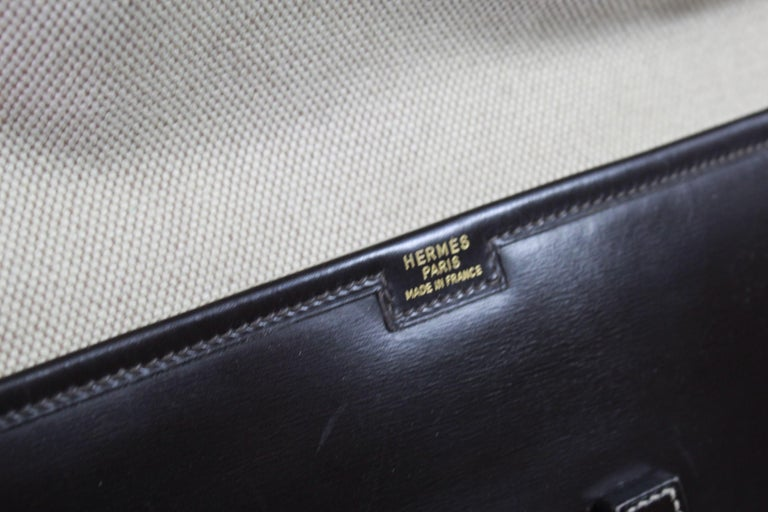 1981 Vintage Hermes Jige GM Clutch in Brown Dark Box Leather In Excellent Condition For Sale In Paris, FR