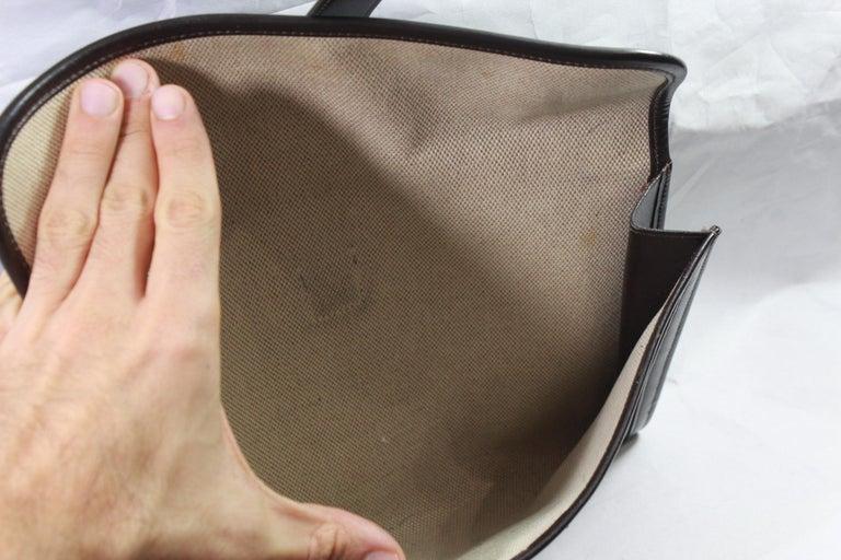 Women's or Men's 1981 Vintage Hermes Jige GM Clutch in Brown Dark Box Leather For Sale