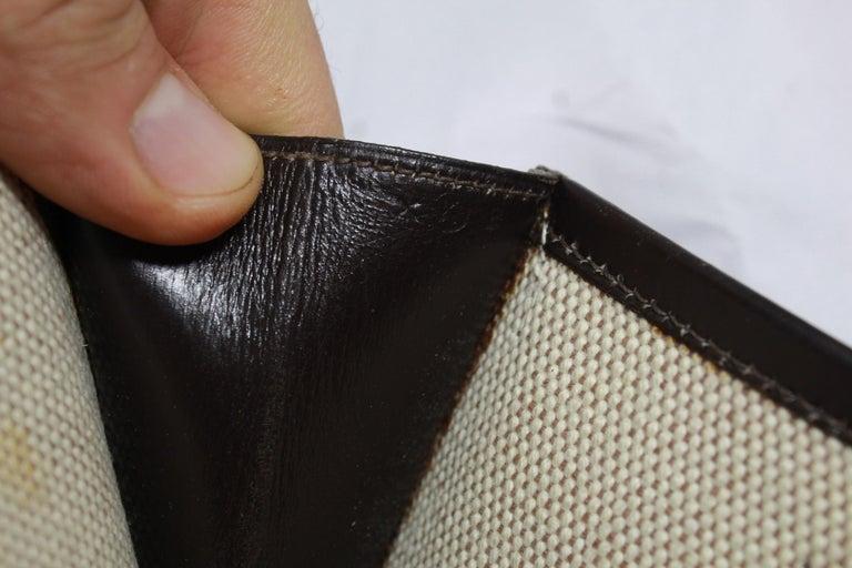 1981 Vintage Hermes Jige GM Clutch in Brown Dark Box Leather For Sale 1