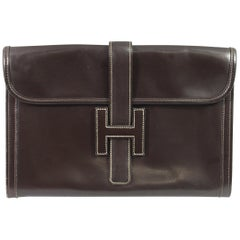 1981 Vintage Hermes Jige GM Clutch in Brown Dark Box Leather