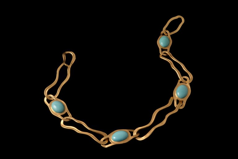 1982 Angela Cummings for Tiffany & Co. Turquoise and Gold Link Necklace In Excellent Condition In New York, NY