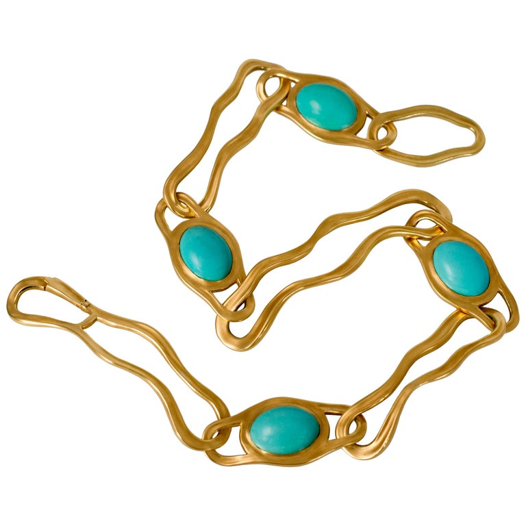 1982 Angela Cummings for Tiffany & Co. Turquoise and Gold Link Necklace