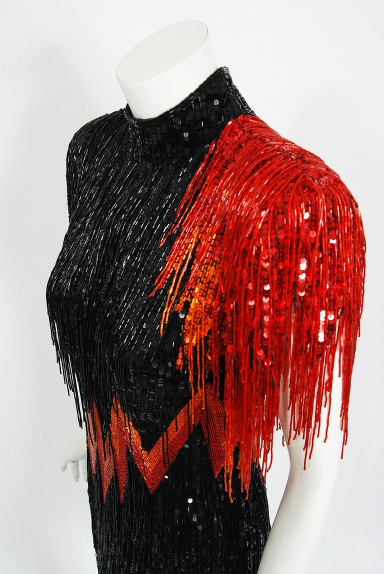 Women's Vintage 1982 Bob Mackie Couture Lightning Bolt Black & Red Beaded Fringe Dress