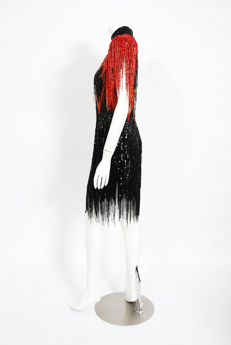 Vintage 1982 Bob Mackie Couture Lightning Bolt Black & Red Beaded Fringe Dress  2
