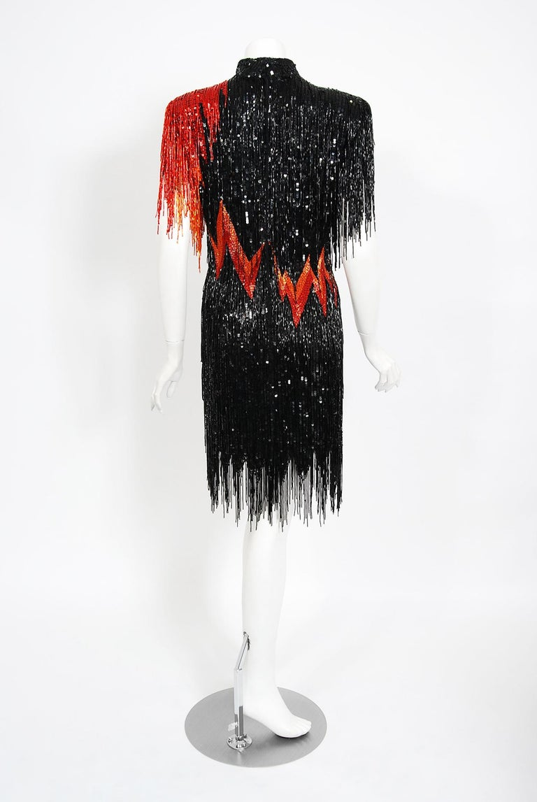 Vintage 1982 Bob Mackie Couture Lightning Bolt Black & Red Beaded Fringe Dress  3