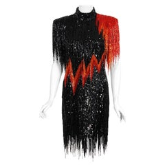 1982 Bob Mackie Couture Lightning Bolt Black & Red Beaded Fringe Party Dress