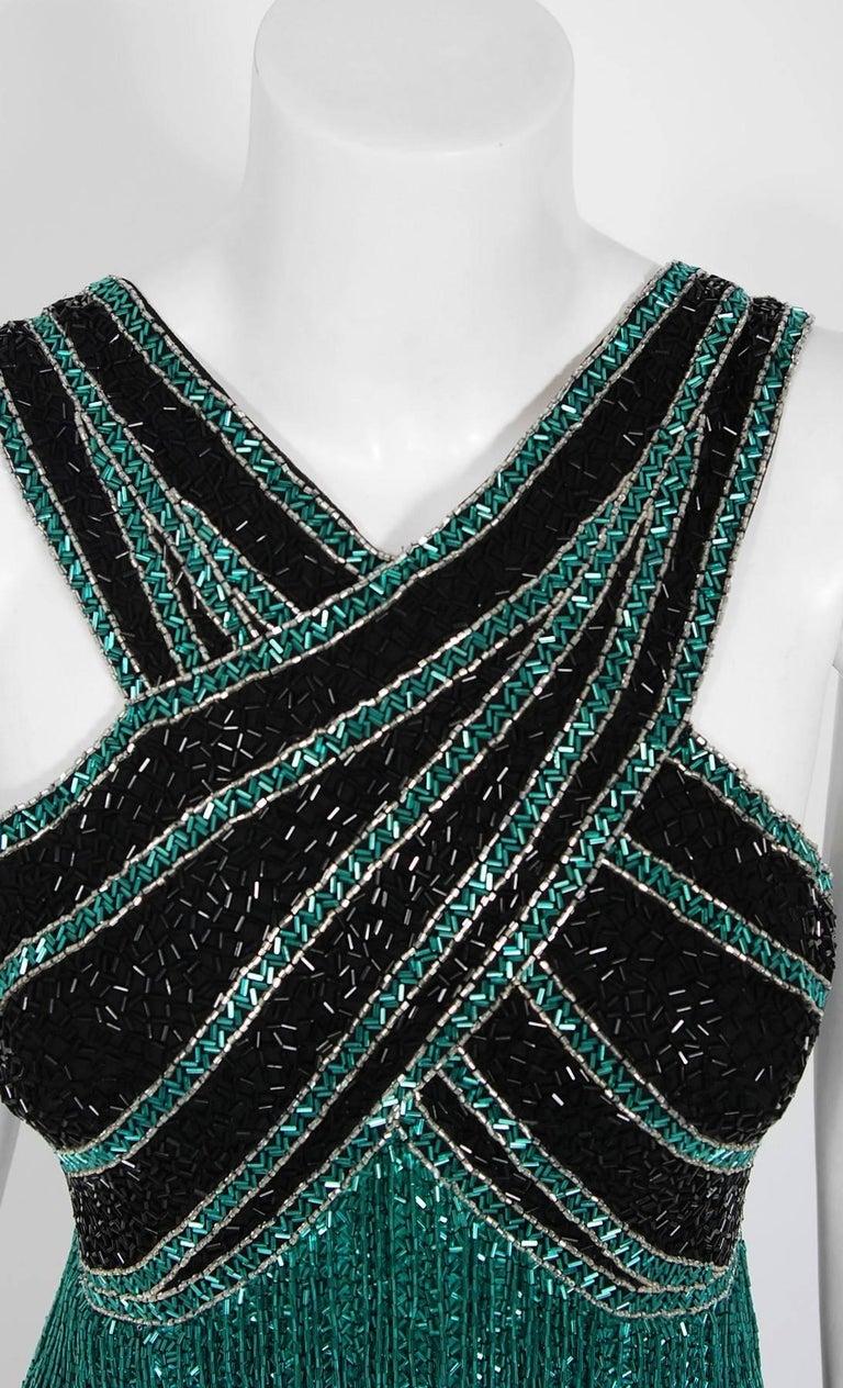 Blue Vintage 1979 Bob Mackie Couture Teal & Black Beaded Fringe Backless Disco Dress For Sale