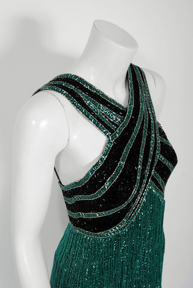 Vintage 1979 Bob Mackie Couture Teal & Black Beaded Fringe Backless Disco Dress In Good Condition For Sale In Beverly Hills, CA