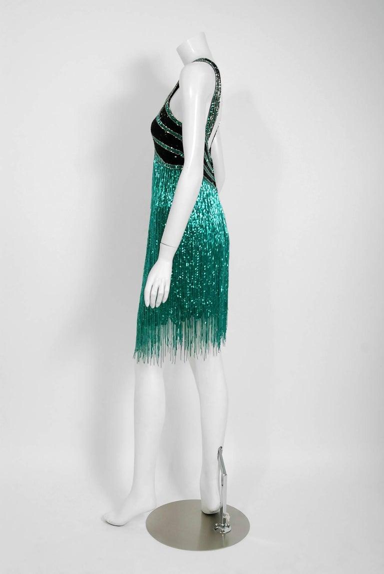 Vintage 1979 Bob Mackie Couture Teal & Black Beaded Fringe Backless Disco Dress For Sale 1