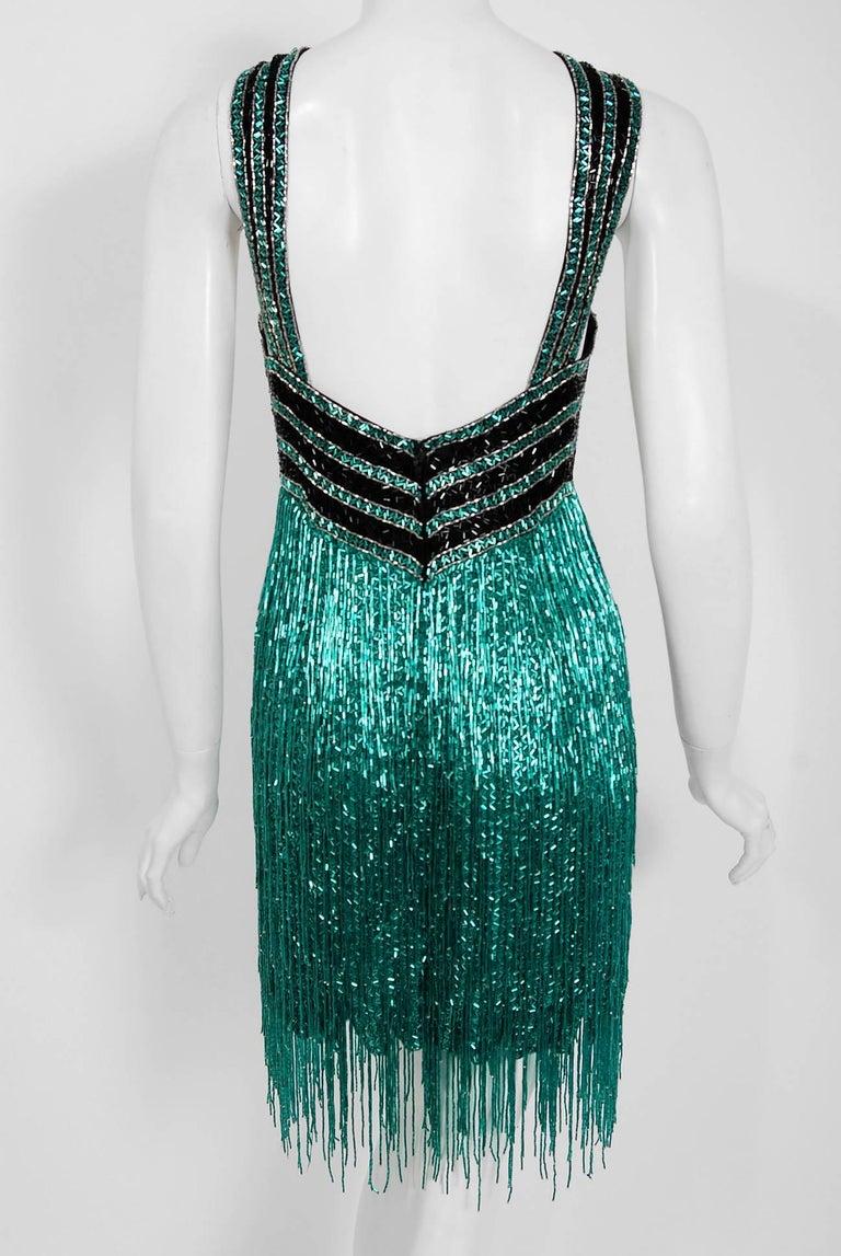 Vintage 1979 Bob Mackie Couture Teal & Black Beaded Fringe Backless Disco Dress For Sale 2