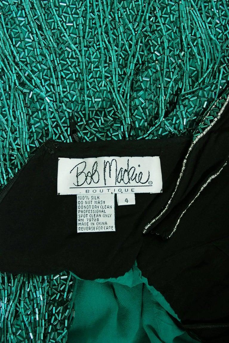 Vintage 1979 Bob Mackie Couture Teal & Black Beaded Fringe Backless Disco Dress For Sale 3