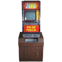 1982 IGT Draw Poker Coin Operated Slot Machine on Base