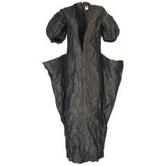 1982 Krizia by Mariuccia Mandelli Deep Plunging Front Sculptural Dress