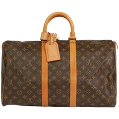 1982 Louis Vuitton Brown Monogram Coated Canvas & Vachetta Vintage Keepall 45