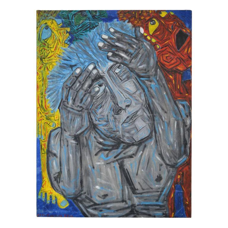 "Homage to Eduardo Kingman - Painting by Crespo Diaz, ""Esperando El Final III"" For Sale"