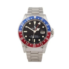 1982 Rolex GMT-Master Pepsi Stainless Steel 16750 Wristwatch