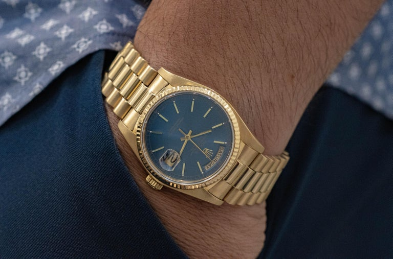 Contemporary 1982 Rolex President Day-Date Wristwatch Made in Yellow Gold, Ref. 18038 For Sale