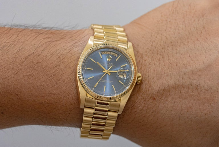 1982 Rolex President Day-Date Wristwatch Made in Yellow Gold, Ref. 18038 In Good Condition For Sale In New York, NY