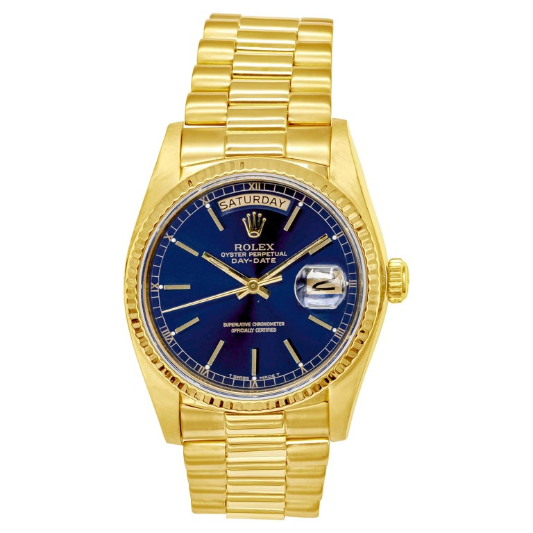 1982 Rolex President Day-Date Wristwatch Made in Yellow Gold, Ref. 18038 For Sale