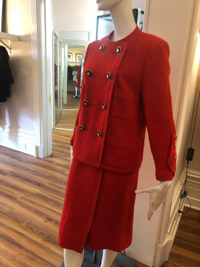 Red 1983 Chanel Suit Karl Lagerfeld's First Collection for the House of Chanel For Sale