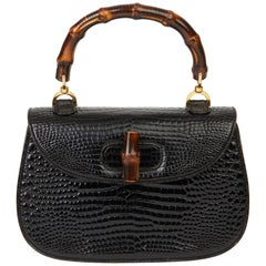 1983 Gucci Black Alligator Leather Bamboo Classic Top Handle