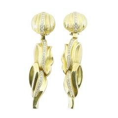 1983 Kieselstein-Cord 18K Yellow Gold Diamond Dangle Clip On Earrings