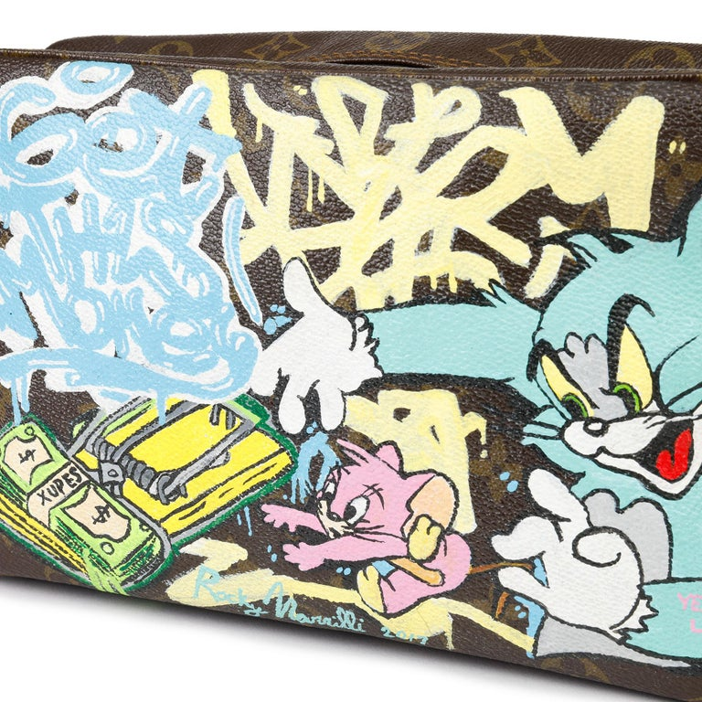 1983 Louis Vuitton Hand-painted 'Get This Money' X Year Zero London Pouch For Sale 5