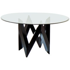 1983 Patio Table Black Lacquer Round Glass Top, De Pas D'urbino Lomazzi, Sormani
