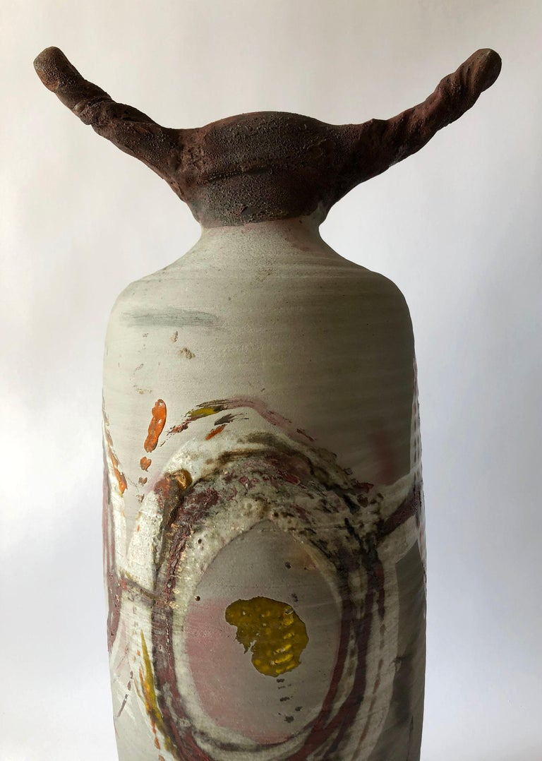 American 1983 Perkins Earthenware Raku Fired Sculptural Form For Sale