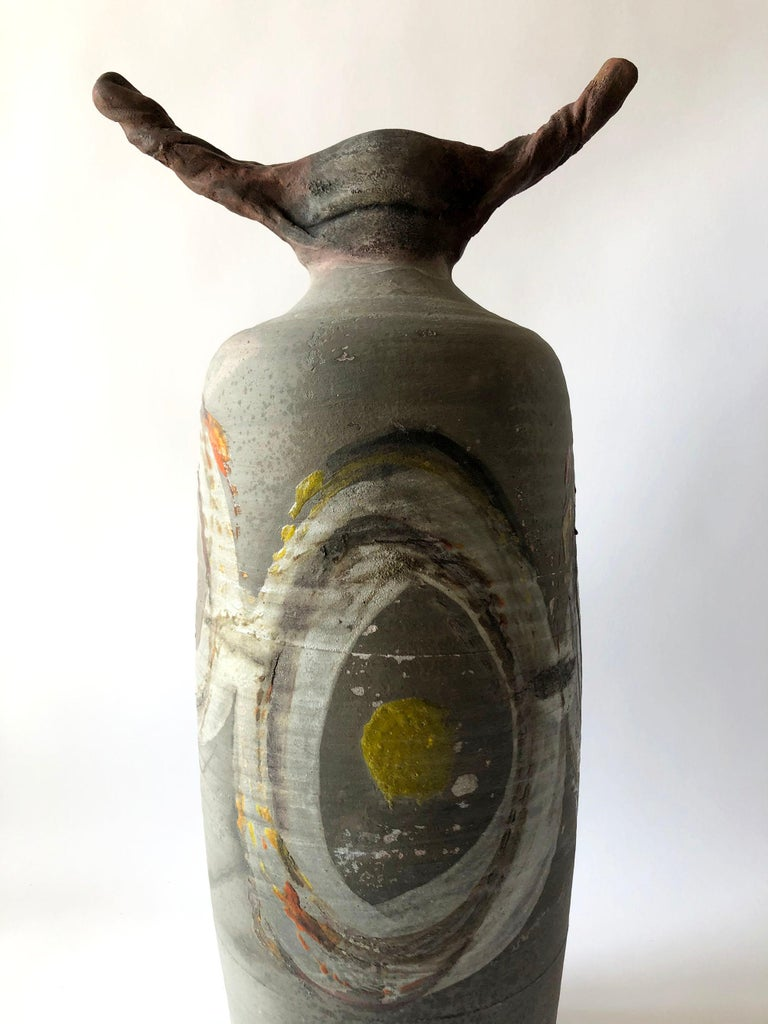 Late 20th Century 1983 Perkins Earthenware Raku Fired Sculptural Form For Sale