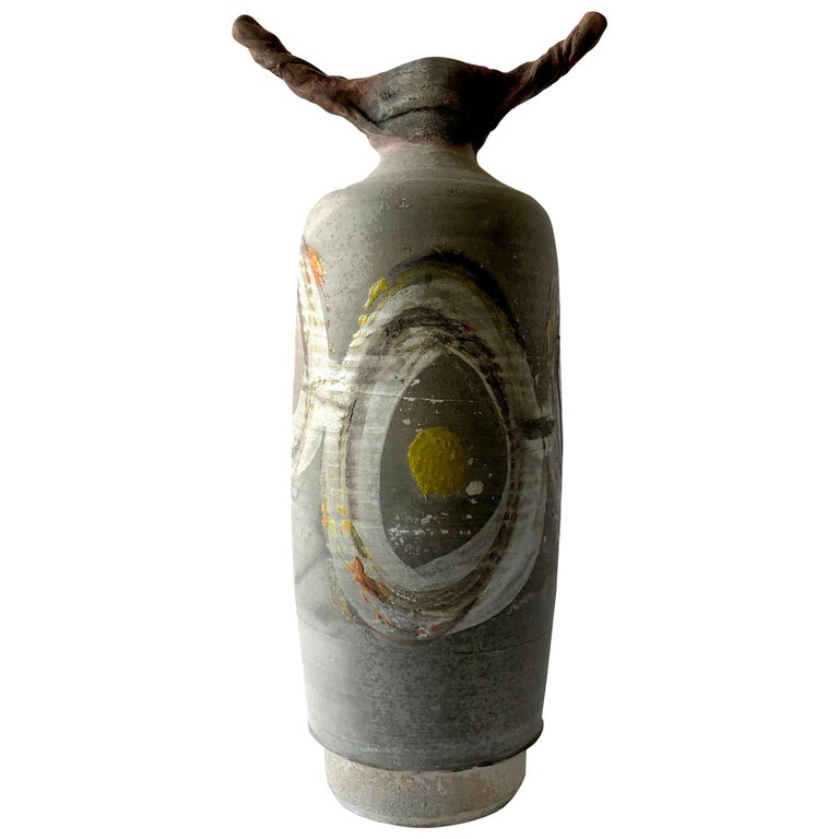 1983 Perkins Earthenware Raku Fired Sculptural Form For Sale