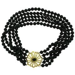 1983 Tiffany & Co. Paloma Picasso Five-Strand Black Beaded Onyx Choker Necklace