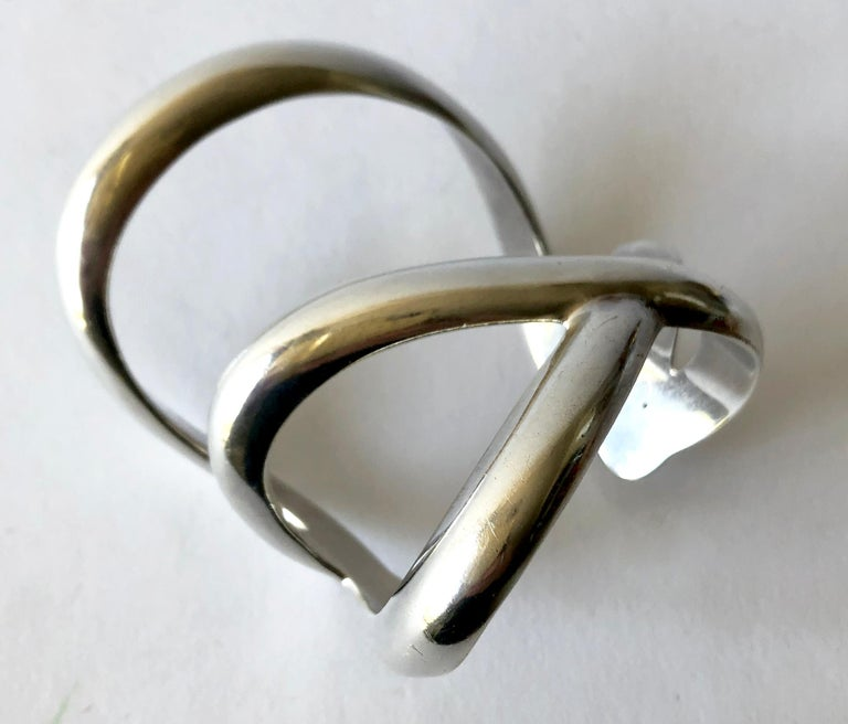 Modernist 1984 Angela Cummings Laced Sterling Silver Wide Cuff Bracelet For Sale