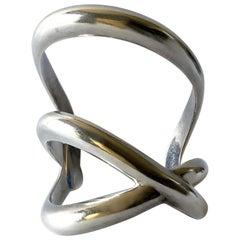 1984 Angela Cummings Laced Sterling Silver Wide Cuff Bracelet
