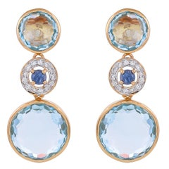 19.84 Carat Blue Topaz Blue Sapphire Diamond 18 Karat Yellow Gold Earrings