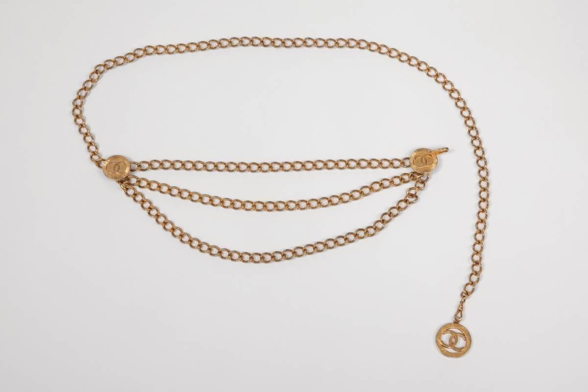 Chanel 1984 Chanel Goldtone Triple Chain Belt 3WUQvqfl