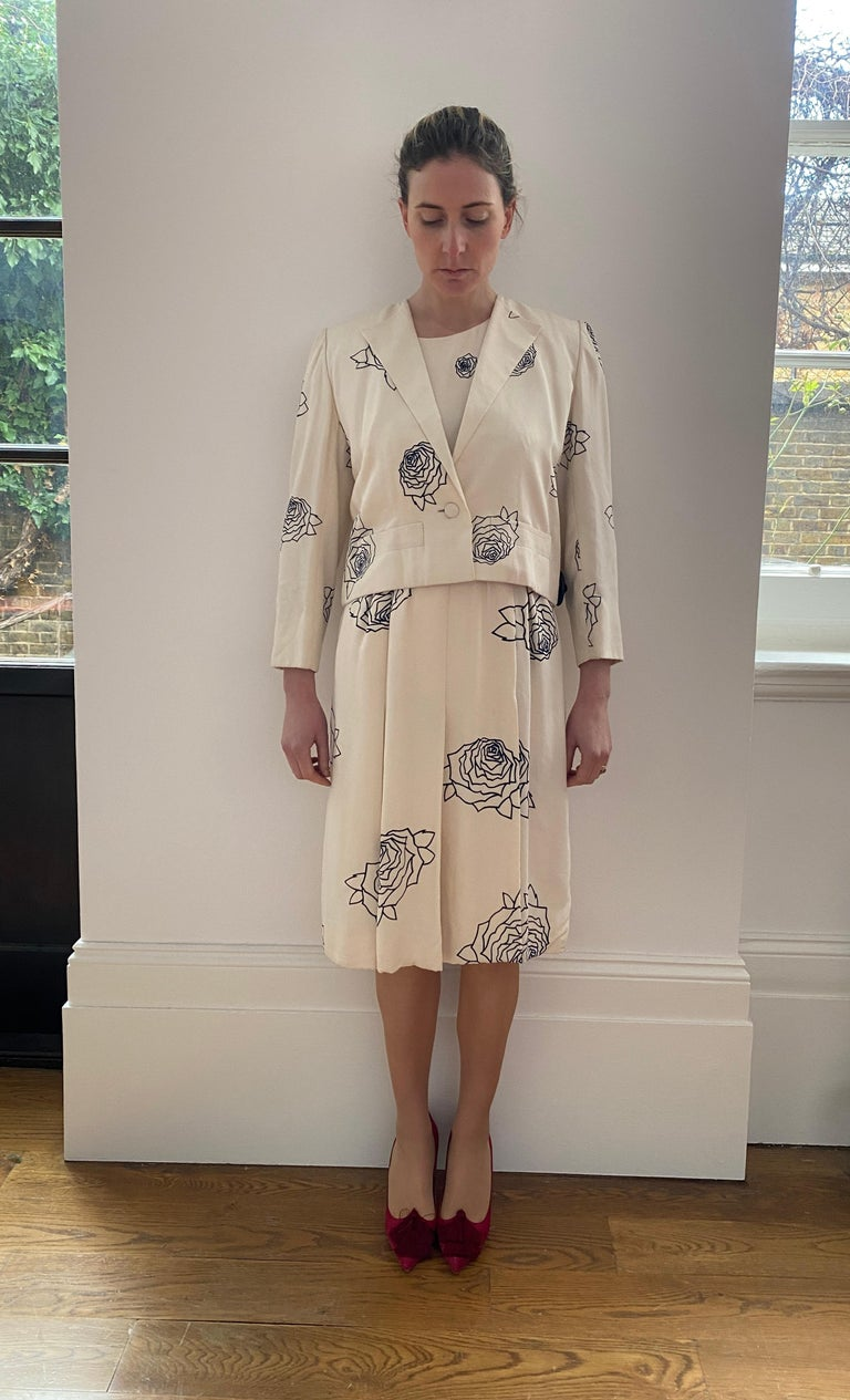 1984 Christian Dior Haute Couture Rose Print Dress Suit For Sale 5