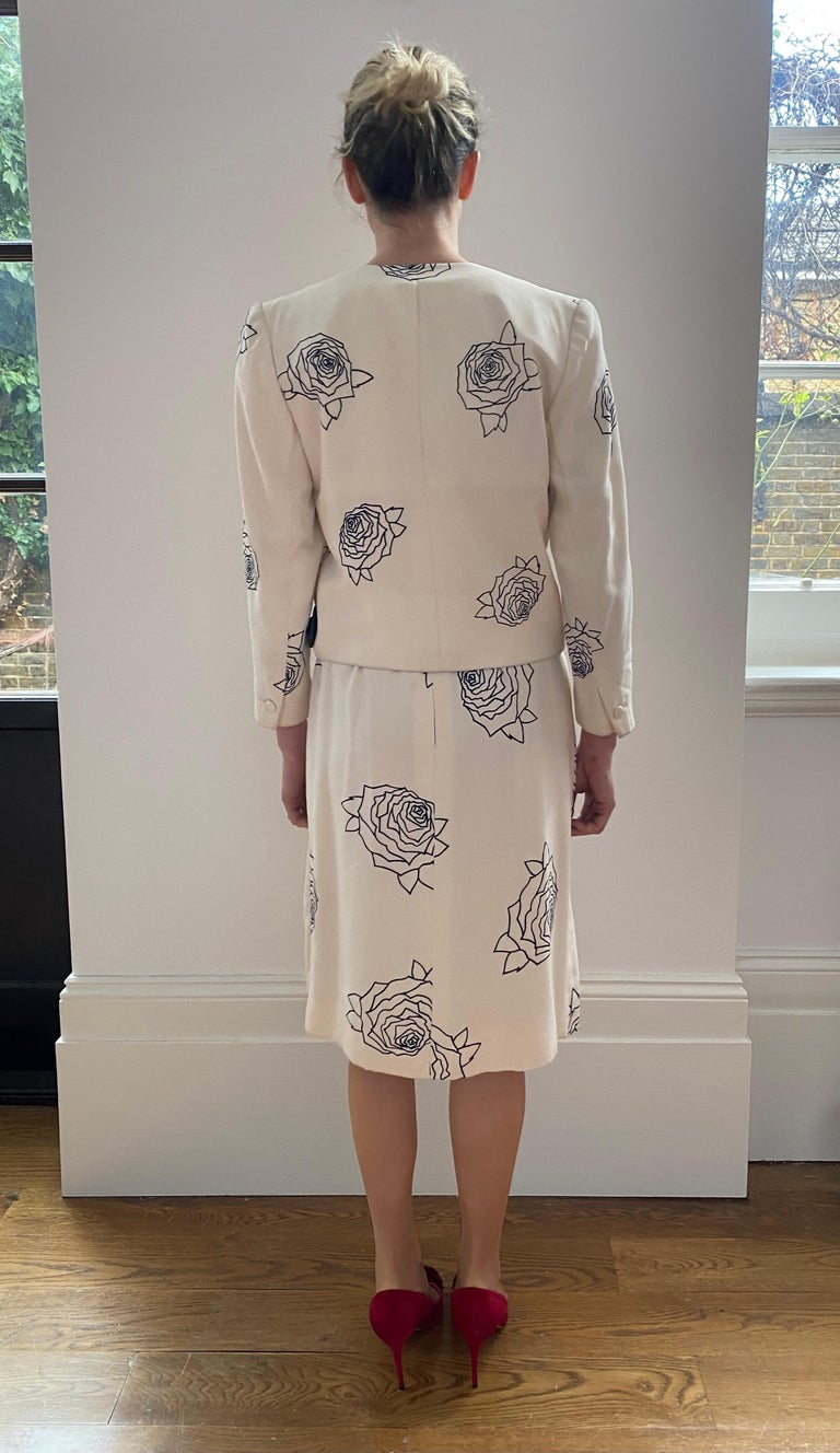 1984 Christian Dior Haute Couture Rose Print Dress Suit For Sale 6
