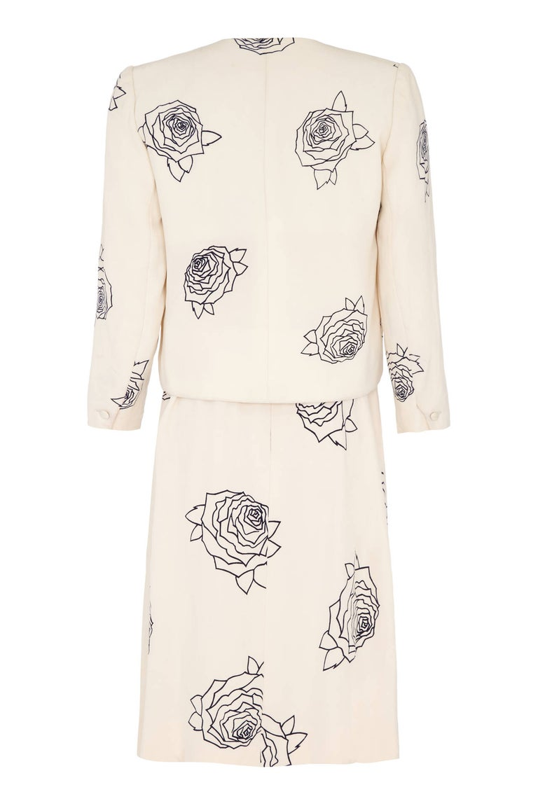 White 1984 Christian Dior Haute Couture Rose Print Dress Suit For Sale