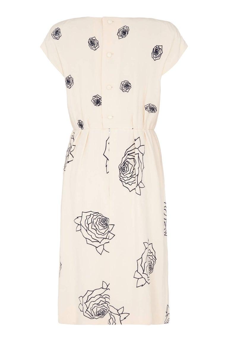 Women's 1984 Christian Dior Haute Couture Rose Print Dress Suit For Sale
