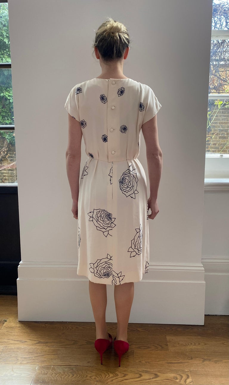 1984 Christian Dior Haute Couture Rose Print Dress Suit For Sale 4