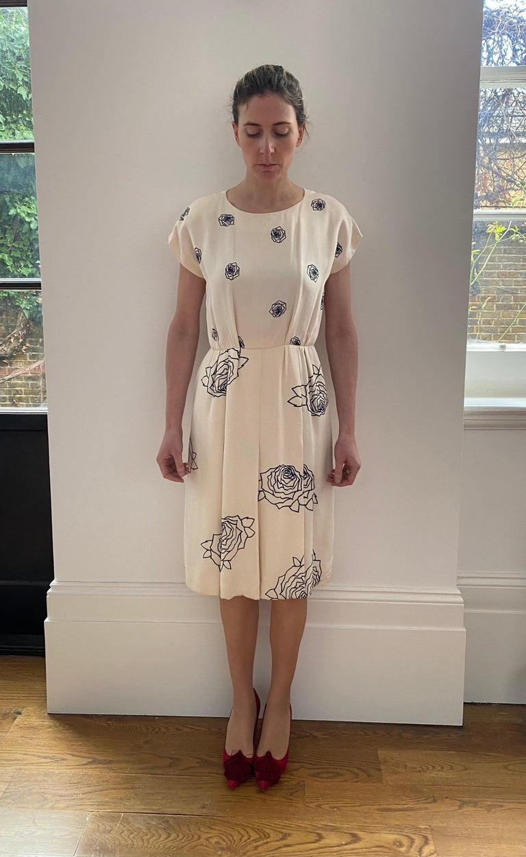 1984 Christian Dior Haute Couture Rose Print Dress Suit For Sale 3