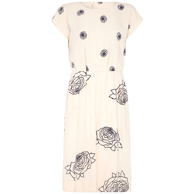 1984 Christian Dior Haute Couture Rose Print Dress Suit