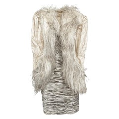 1984 Emanuel Ungaro Haute Couture Silver Velvet Dress & Feather Jacket